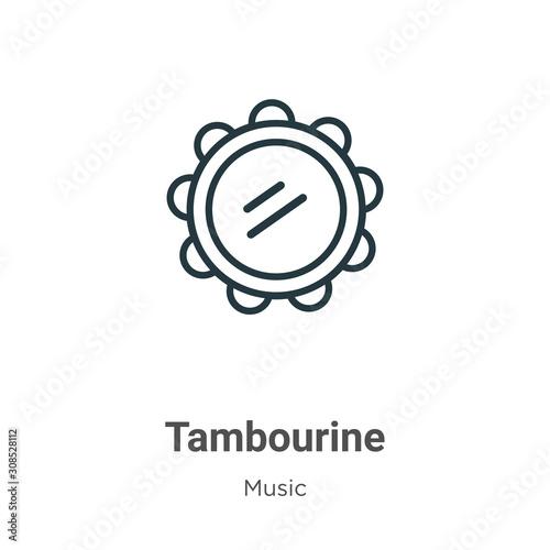Tambourine outline vector icon Fototapeta