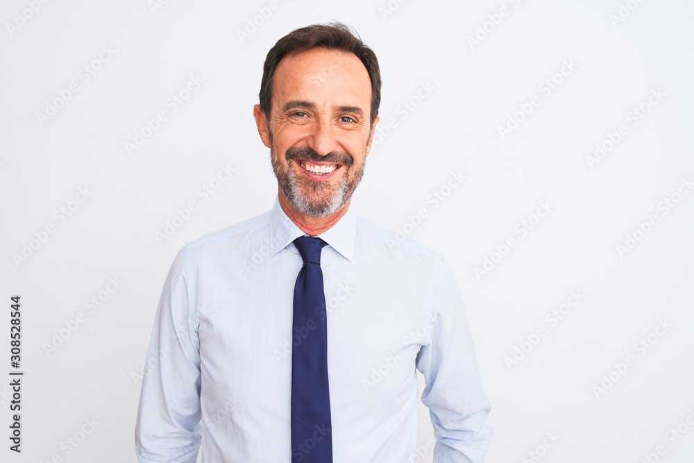 Fototapeta Middle age businessman wearing elegant tie standing over isolated white background with a happy and cool smile on face. Lucky person.