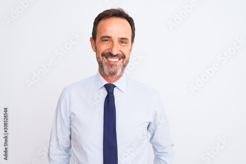 Fototapety, obrazy: Middle age businessman wearing elegant tie standing over isolated white background with a happy and cool smile on face. Lucky person.