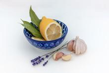Fresh Lemon In Blue Bowl