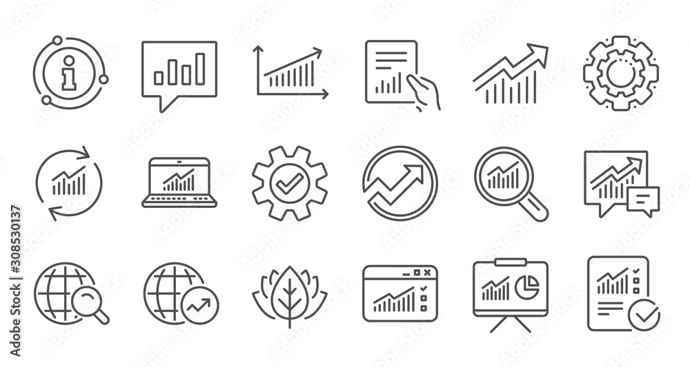 Fototapeta Analytics line icons. Reports, Charts and Graphs. Data statistics linear icon set. Quality line set. Vector