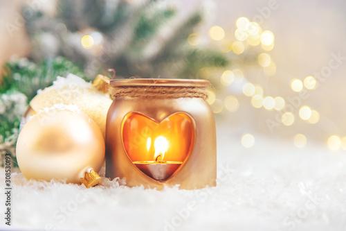 Fototapeta Beautiful christmas background with decor. Selective focus. obraz na płótnie