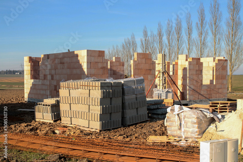 Fototapety, obrazy: detached house under construction in a village