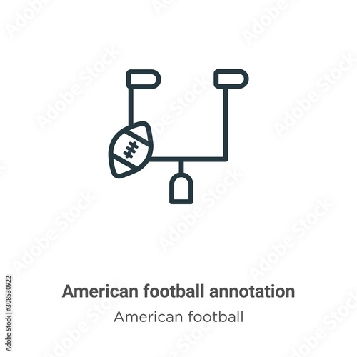 American football annotation outline vector icon Wallpaper Mural