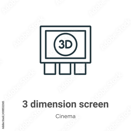 3 dimension screen outline vector icon Canvas Print