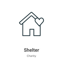 Shelter Outline Vector Icon. Thin Line Black Shelter Icon, Flat Vector Simple Element Illustration From Editable Charity Concept Isolated On White Background