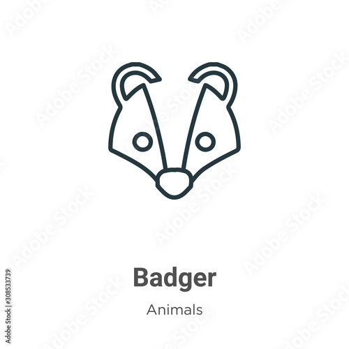 Badger outline vector icon Canvas Print