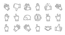 Hand Gestures Line Icons. Hand...
