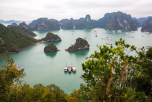 A View From Above Of Halong Bay, Vietnam From Ti Top Island.