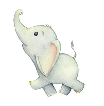 Cute Elephant, Smiling, Running, Head Up. Cute Tropical Animal. Watercolor Illustration On An Isolated Background For Greeting Cards And Children's Parties.