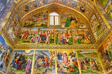 Interior, Frescos Representing Scenes Of The Bible, Holy Savior (Vank) Armenian Cathedral, Esfahan, Iran