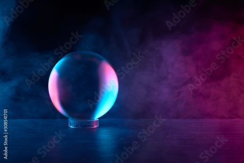 crystal ball in red-blue smoke Poster Mural XXL