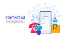 Online Customer And Client Care And Support Concept. Contact Us Template For Web And Landing Page.