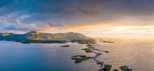 Aerial Panoramic Of Storseisundet Bridge At Sunset, Atlantic Road, More Og Romsdal County