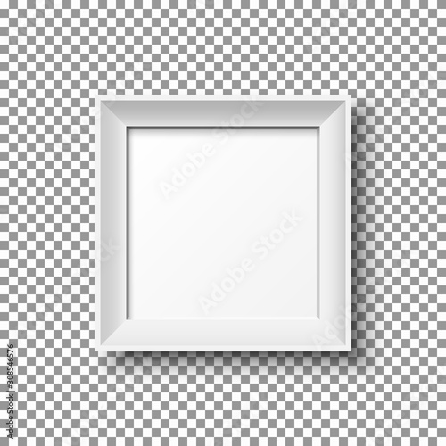 Fototapeta Realistic white square picture frame isolated on transparent background. obraz