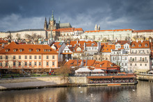 St. Vitus Cathedral And Prague Castle Viewed From Charles Bridge, Prague, Czech Republic