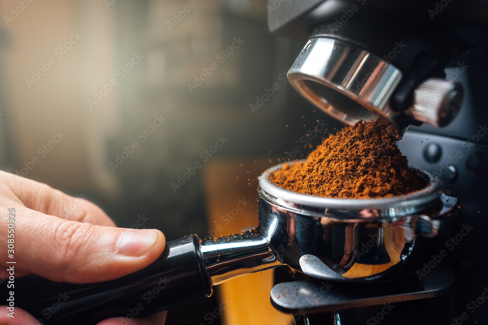 Fototapeta ground coffee pouring into a portafilter with a grinder