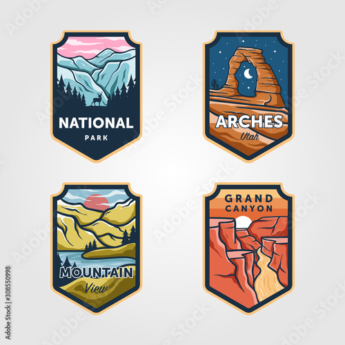 Fényképezés Set of vector national park outdoor adventure vintage logo emblem illustration d