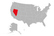 Nevada state marked red on USA political map vector illustration. Gray background