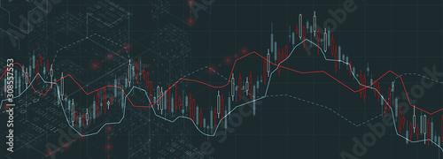 Fototapeta Financial trade concept. Stock market and exchange. Candle stick graph chart. obraz