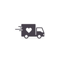 Delivery Truck With Heart, Donation Truck Outline Icon. Charity Truck Simple Line Vector Icon