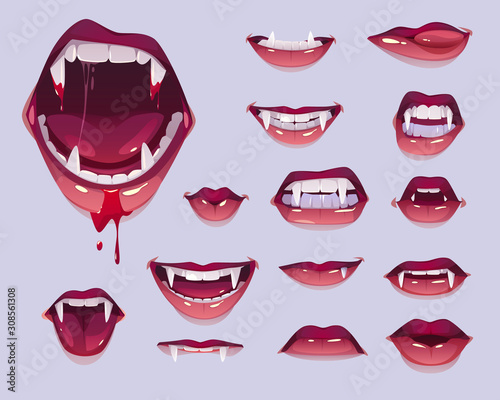 Vampire mouth with fangs set Canvas