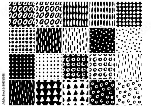 Ink smears. Set of black and white minimalistic vector seamless patterns for your design, for printing on packaging, textiles, fabrics