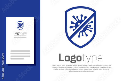 Blue Stop virus, bacteria, germs and microbe icon isolated on white background Wallpaper Mural