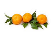 Three Tangerines On A White Is...