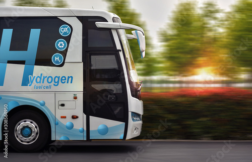 Photo Hydrogen Fuel cell bus with zero emissions