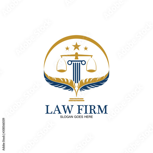 Photo feather law firm  logo icon design template-vector