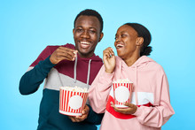 Couple With Popcorn And Popcorn
