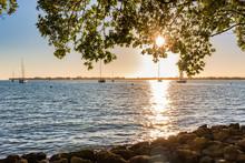 Sunset Over The Sarasota Bay As Seen From The Bayfront Park In Sarasota, Florida, USA