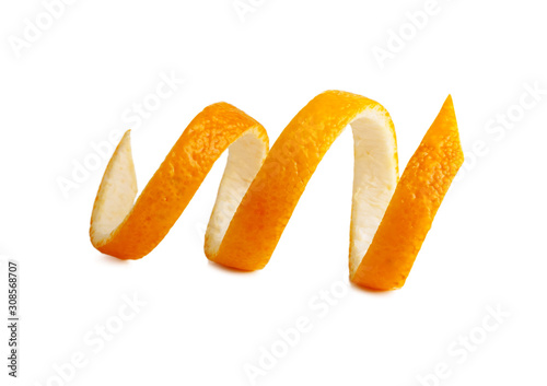 Fotomural Fresh peel of an orange. twist on peel.Isolated on white