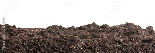 Soil closeup isolated on white. Earth background. Blank for your creativity