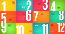 2020 Calendar Wall Template. Vector Colorful Design