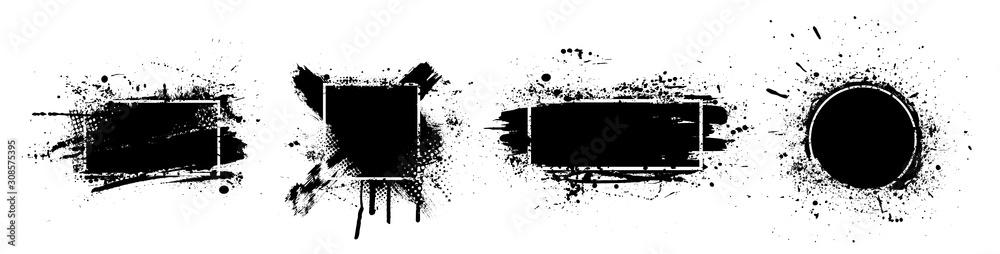 Fototapeta Black splashes grunge with frame. Dirty artistic design elements, boxes, frames for text. Black splashes isolated on white background. Set of black paint, ink brush strokes, brushes, lines. Vector
