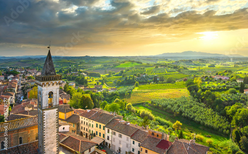 Vinci, Leonardo birthplace, view and bell tower of the church Wallpaper Mural