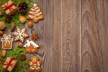 Boże Narodzenie - Tło Z Pierniczkami I Miejscem Na Tekst
