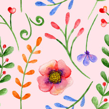Seamless Pattern With Watercolor Branches, Flowers And Berries On A Pink Back