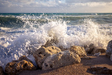 Big Splash Of A Stormy Sea Wav...