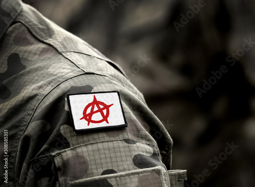 Photo Circle-A symbol for anarchy on military uniform
