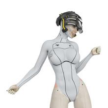 Super Cyborg Girl Doing A Super Model Pose Two