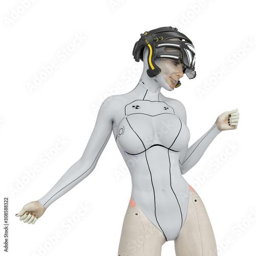 super cyborg girl doing a super model pose two Wallpaper Mural