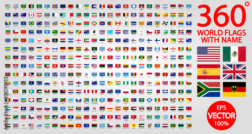 Obraz All official national flags of the world . circular design. 360 world flags with name - fototapety do salonu