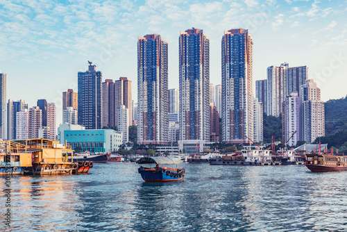 Evening view of the harbor in Aberdeen Bay. Aberdeen. Hong Kong. Wallpaper Mural