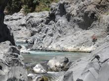 Alcantara Schlucht Sizilien Italien Wasser Trifft Auf Fels