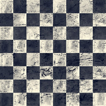 Black Blue Navy And Beige Checkered Vintage Grunge Plaid Seamless Texture. Watercolor Hand Drawn Pattern