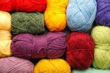 Colorful Knitting Yarns As Background