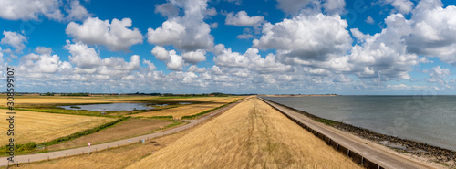 Landscape of the Netherlands, Dyke on the island of Texel suffer during extreme drought Fototapete